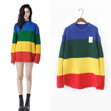 Rainbow Sweaters  Harajuku Stripe Knitted Turtleneck Pullovers Winter Clothes Cotton Long Women Sweater