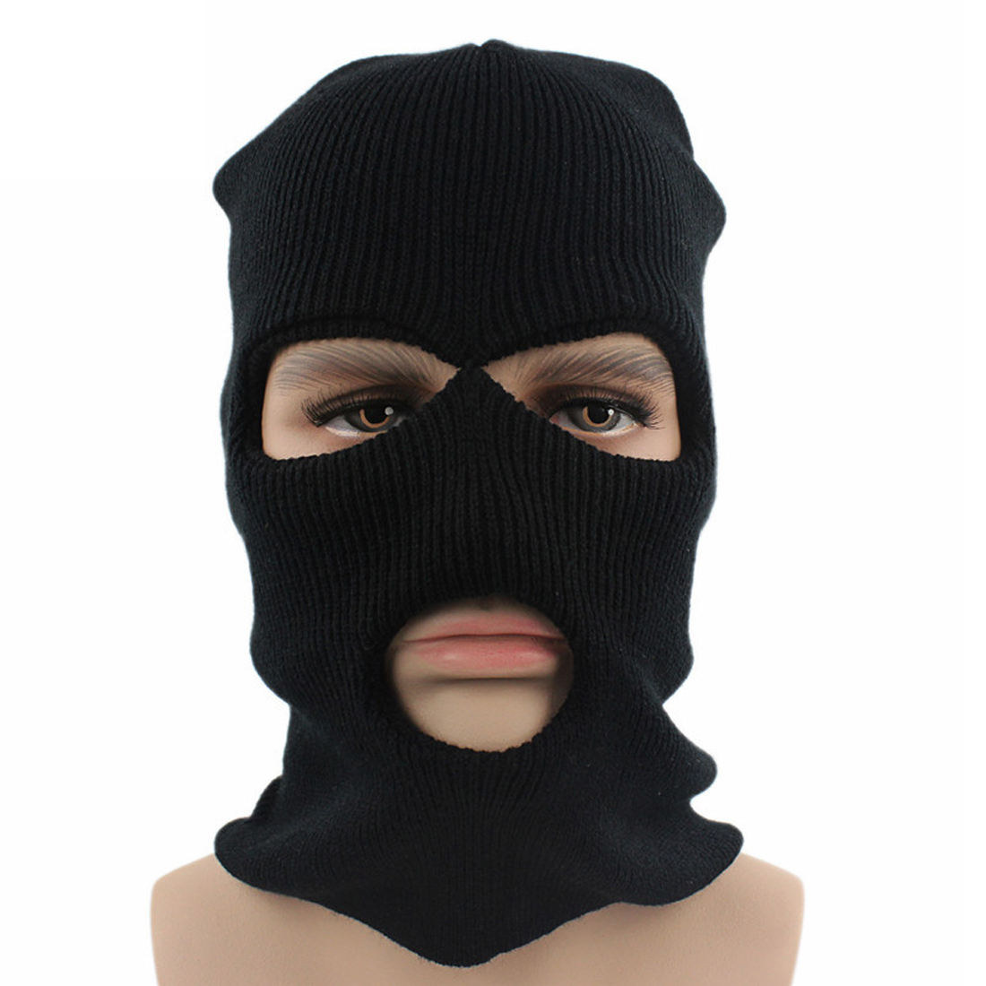 Cycling Cap With Acrylic Double Layer Knitted Face Mask Balaclava Hat Ski Army Stocking Winter Cap Beanie Hood in Men 39 s Skullies amp Beanies from Apparel Accessories