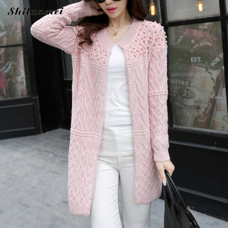 2018 Autumn Winter Fashion Knitted Women Sweater Long Cardigan Lucky Jewelry Loose Casual Pink Long Sleeve Sweaters Outerwear