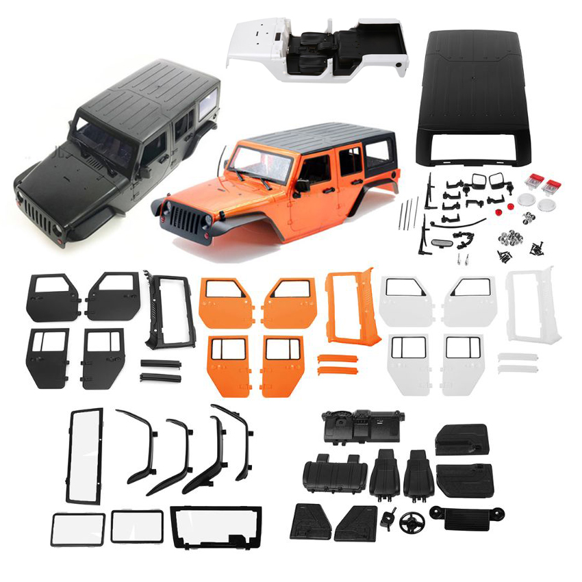 Nouveau 313mm empattement RC coque de carrosserie en plastique dur pour 1/10 RC voiture Jeep Wrangler Axial SCX10-II 90046/90047 TRX4 KitNouveau 313mm empattement RC coque de carrosserie en plastique dur pour 1/10 RC voiture Jeep Wrangler Axial SCX10-II 90046/90047 TRX4 Kit
