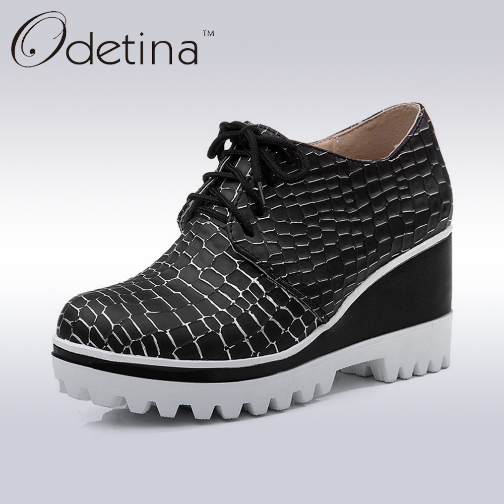 ФОТО Odetina 2017 New Designer Spring Women Wedges Platform Shoes Plaid Lace Up Autumn heeled Casual Pump Shoes Fashion Larger Size
