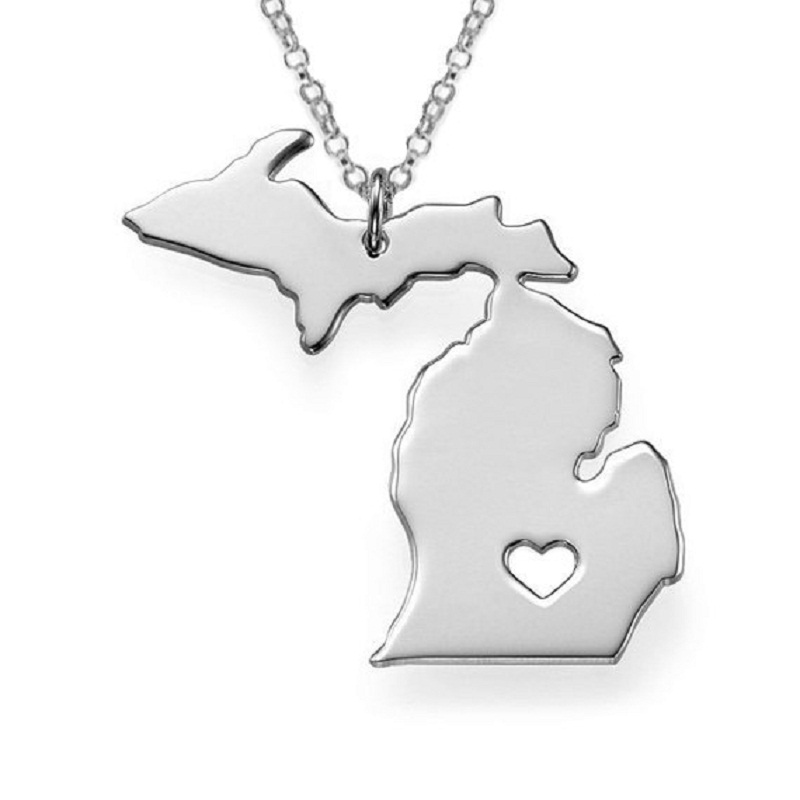 New arrival Michigan State necklace American 316 stainless steel heart map pendant necklace