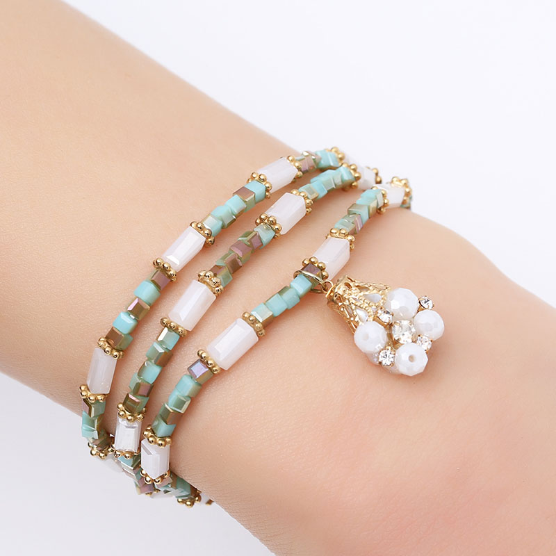 Elegant Baroque Pearl Beads Charm Bracelets Blue Beige and White Crystal Beads Bracelets for Women Elastic Multi Layer Wristband (5)