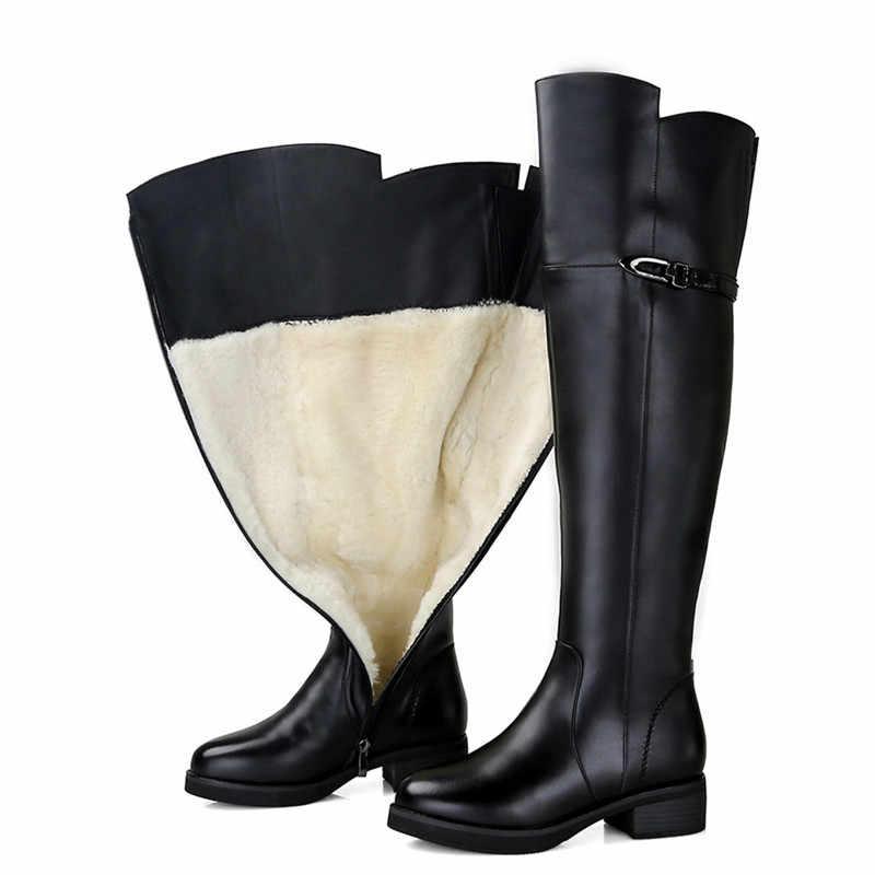 MORAZORA 2019 ใหม่ล่าสุดหิมะรองเท้าผู้หญิงหนังแท้ + PU เข่าหนาขนสัตว์ขนสัตว์ธรรมชาติรองเท้าผู้หญิงฤดูหนาวรองเท้า