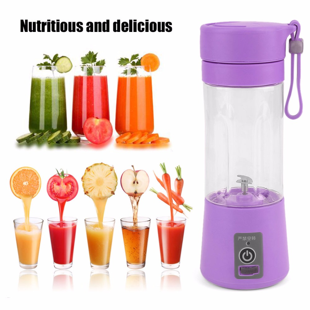 Portable 380ml USB Electric Fruit Juicer Handheld Smoothie Maker Blender Rechargeable Mini Portable Juice Bottles Water