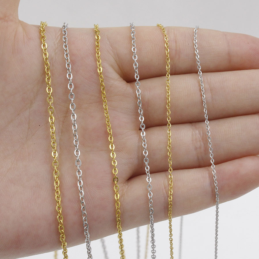 5pcs 316L Stainless Steel 1 1.5 2mm Rolo Link Chain Necklace Gold Steel Tone 40 45 50 60CM Long Chain Lobster Clasp Necklace(China)