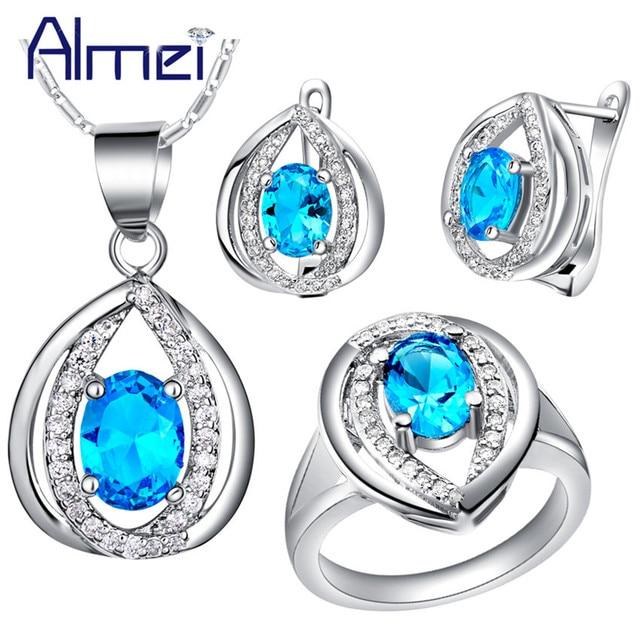 Almei Silver Joyeria Set De Boda Blue Pink Crystal Necklace Earrings Ring Jewelry Sets for Wedding Bridal Women Bijouterie T444