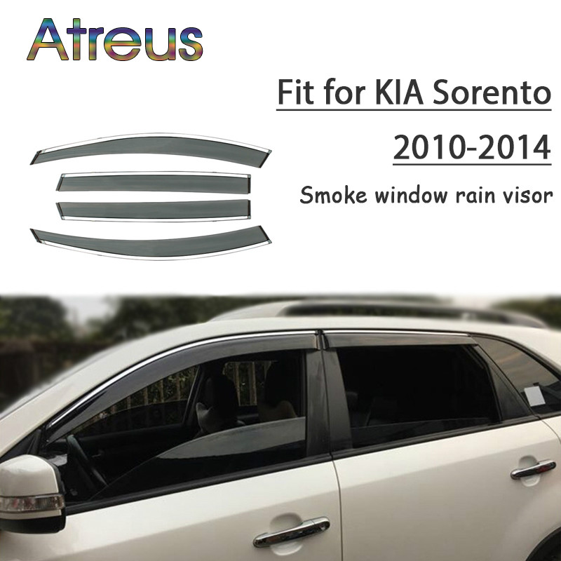 Atreus 1set ABS Rain Smoke Window Visor Car Wind Deflector For Kia Sorento 2010 2011 2012