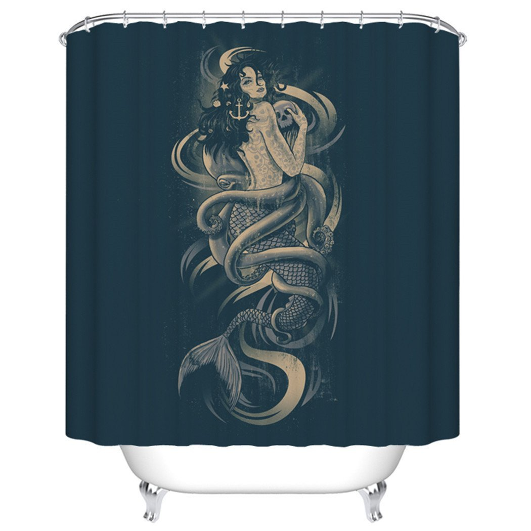 Mermaid shower curtains - Warm Tour Mermaid Skull Octopus A Shower Curtain Polyester Curtain Hospital Hotel With Hooks Ring