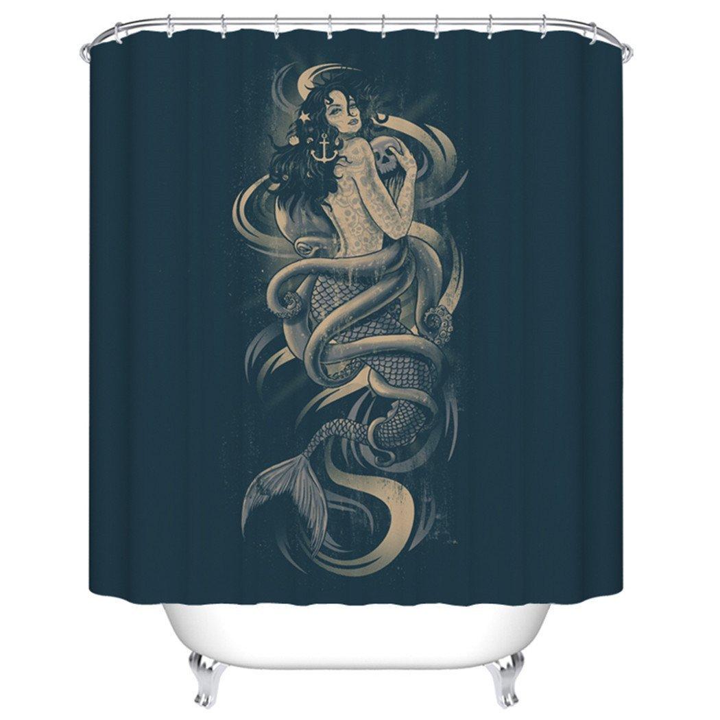 Kraken shower curtain - Warm Tour Mermaid Skull Octopus A Shower Curtain Polyester Curtain Hospital Hotel With Hooks Ring