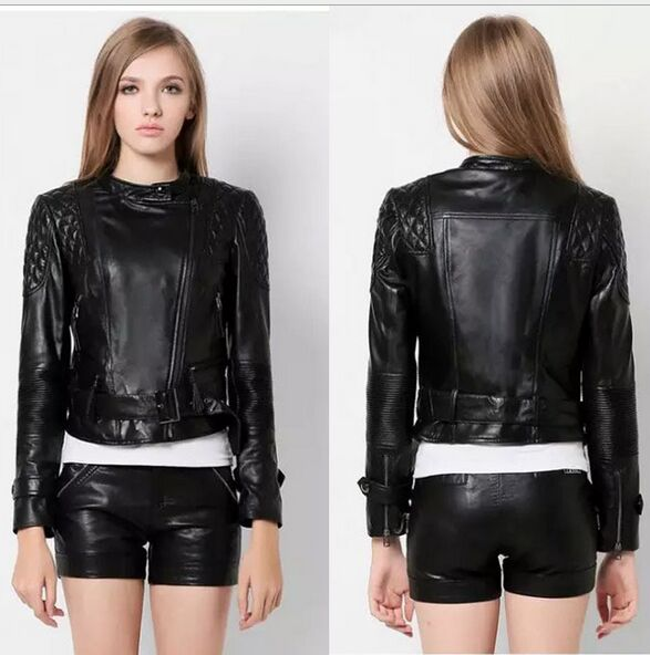 New 2016 autumn winter women fashion sleeve quilt Autumn motorcycle water washed faux leather outerwear jacket