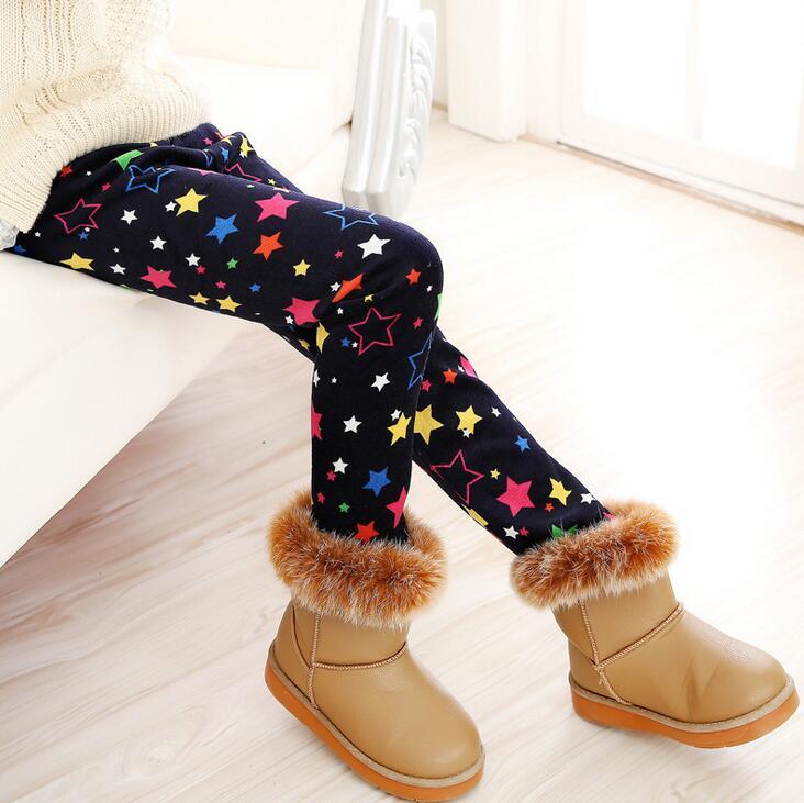 VEENIBEAR Newest Winter Girl Leggings Velvet Thicken Warm Star Print Girl Pants Kids Children Pants Winter Girl Clothing 2-7T 1