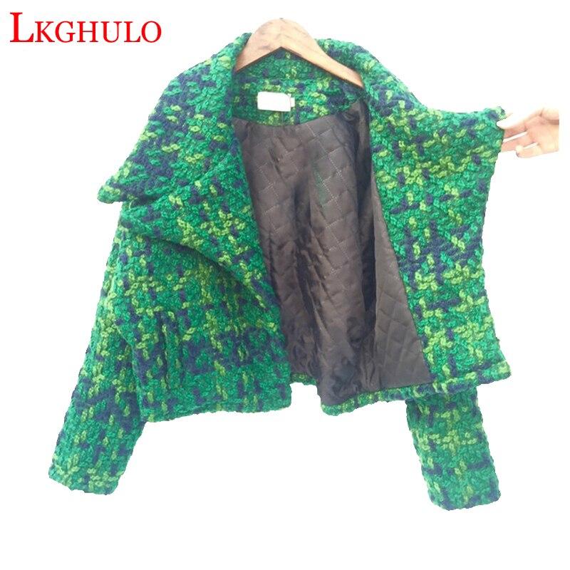 Wool Tweed Blends Short Coat Women Autumn Korean Style Students Loose Thicken Houndstooth Woolen Ladies Fashion