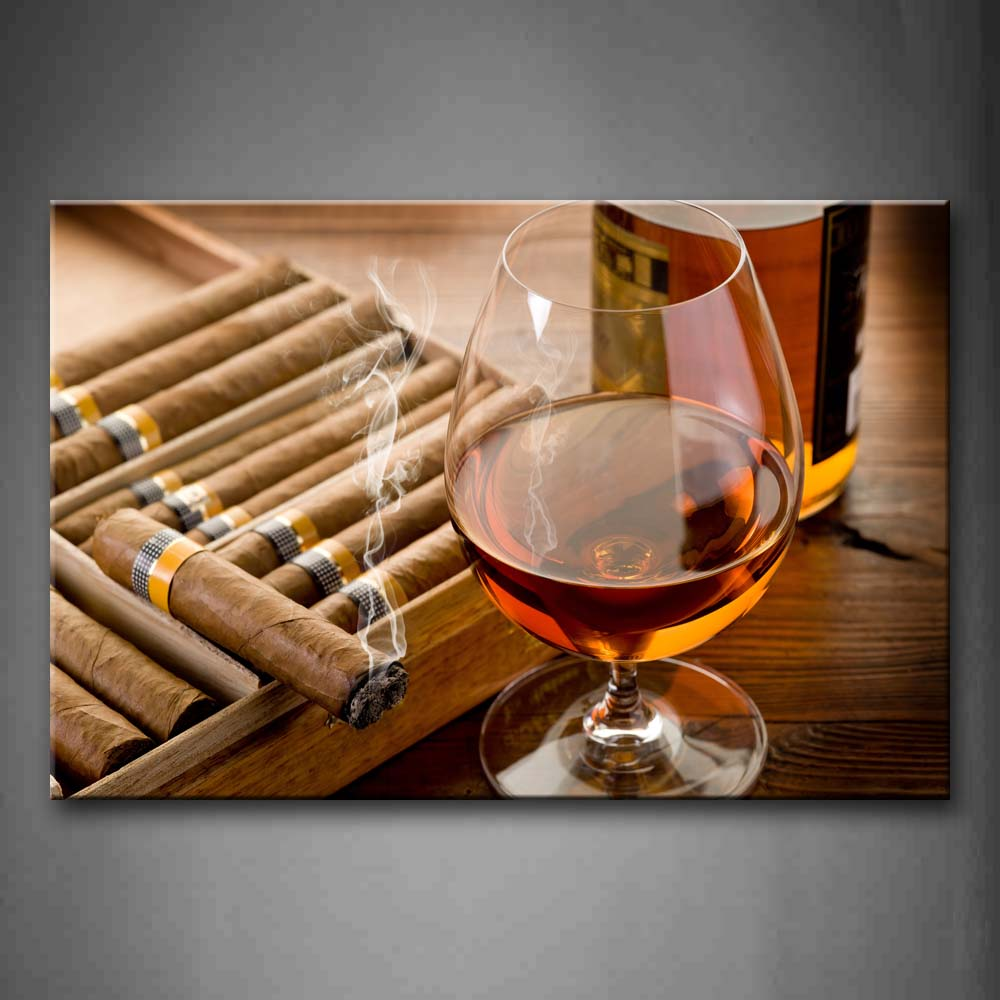 Framed Wall Art Pictures Liquor Cup Cigar Canvas Print Food Modern Posters With Wooden Frames For Home Living Room Decor