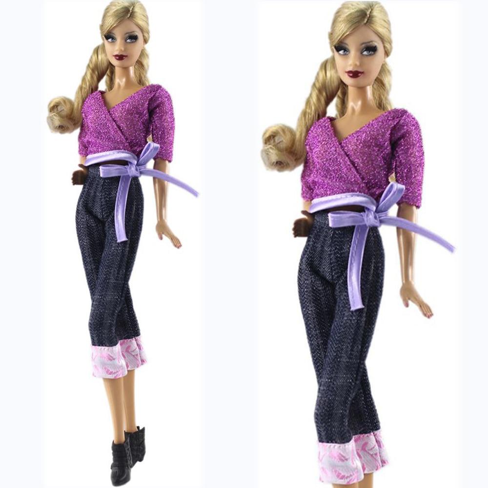 on sale 1d0c2 4737a US $1.4 12% di SCONTO|NK 2019 Bambola Vestito Da Modo Dei Vestiti Abiti  Casual Vestiti di Jeans Per La Bambola di Barbie Best Regalo Del Giocattolo  ...