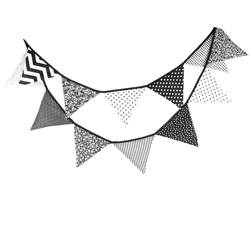 1 unids 3.2 M Negro Blanco Dot Wave Decoración de la boda Bunting - Para fiestas y celebraciones