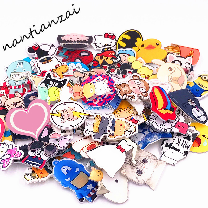 Mix 100PCS Icon Badge Harajuku Acrylic Pin Badges Brooches Anime Clothes Backpack Pins Japan Anime Kids Gift Collection