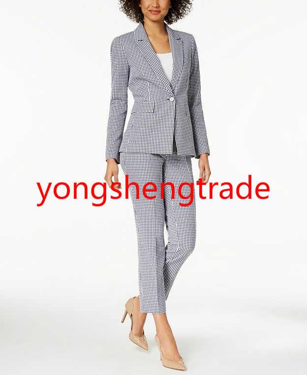 05034de4472 Custom Made Women Business Suit Hand Tailored Women Work Clothes Print  Blazer And Straight Leg Pants