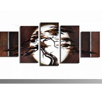 Free shipping handpainted art African Trees the big sun wall decoration abstract Landscape oil painting on canvas 5pcs/set