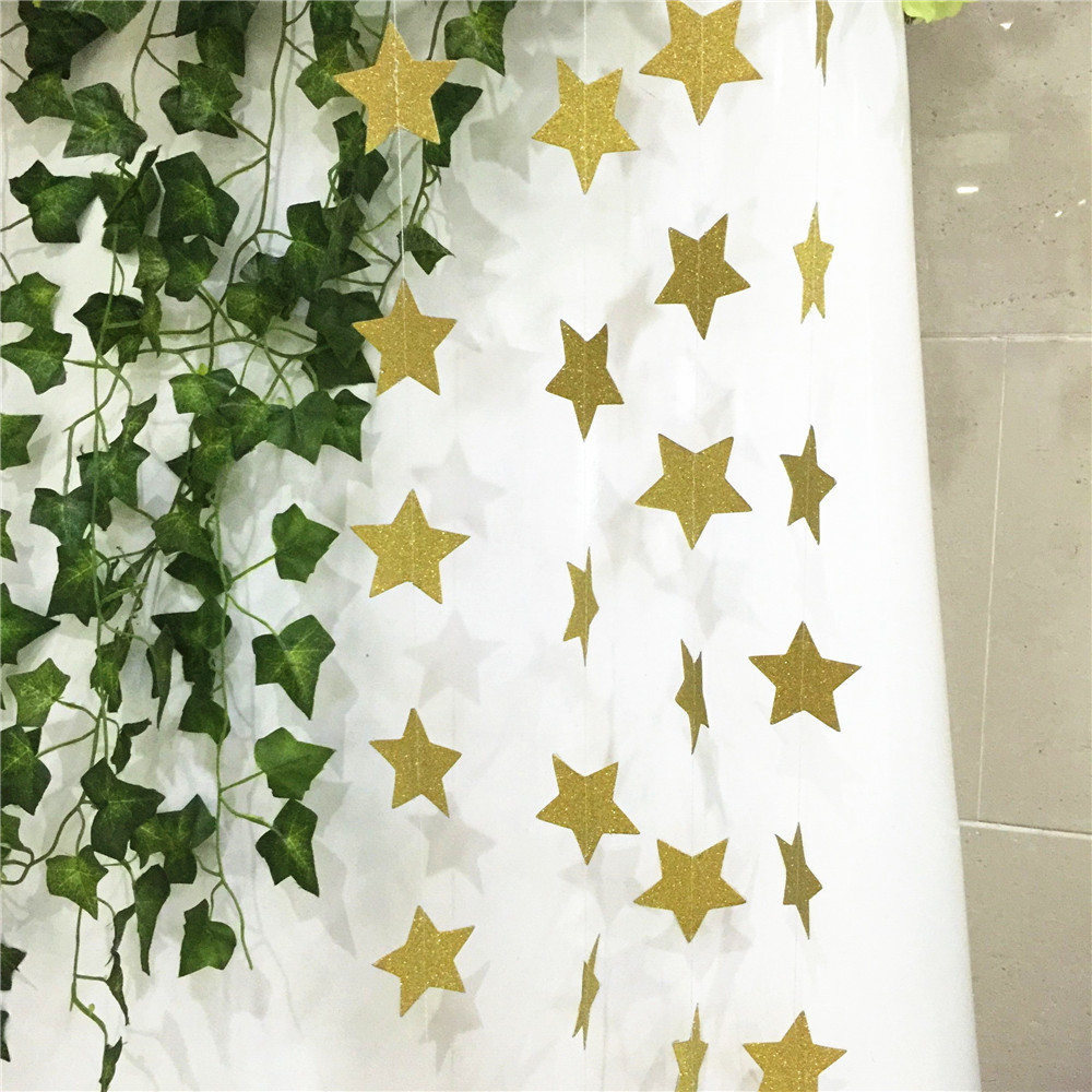 2M Star Garland Hanging Paper Garlands for Christmas Weddings Party Decoration