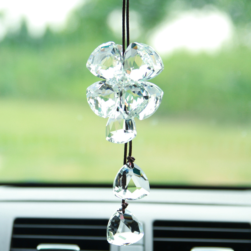 free shipping luxury lucky blessing 4 leaf crystal clover car pendant car accessories hanging. Black Bedroom Furniture Sets. Home Design Ideas