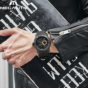 Image 5 - MEGALITH Fashion Gold Dragon Sculpture Watch Men Quartz Watch Waterproof Big Dial Sport Watches Men Watch Top Luxury Brand Clock