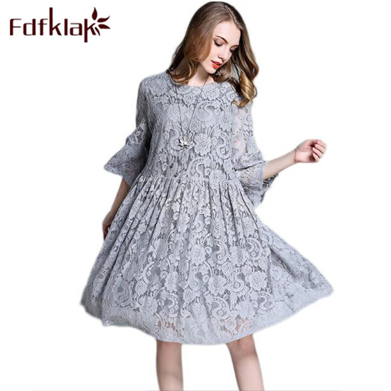 цена Fdfklak L-4XL Large Size Clothing Lace Dress Pregnancy Clothes Summer Wedding Dress For Pregnant Gray/Navy Maternity Dress F47