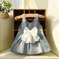 girls brand dress lace  big bow kids denim dress 2016 summer children dresses toddler fashion clothes baby girl