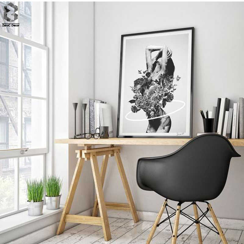 Nordic Decoration Flower Poster And Prints Girl Canvas Painting Black White Wall Art Picture for Living Room Home Decor