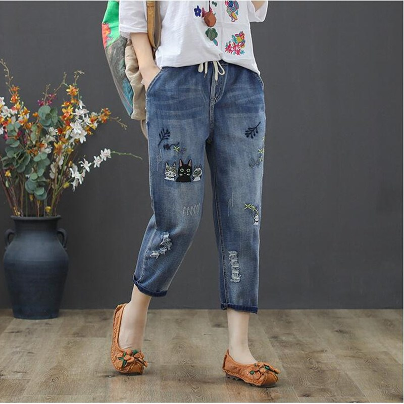 Women Vintage Cat Embroidered Jeans Ripped Cotton Denim Harem Pants Casual Ladies Lace Up Elastic Waist Trousers
