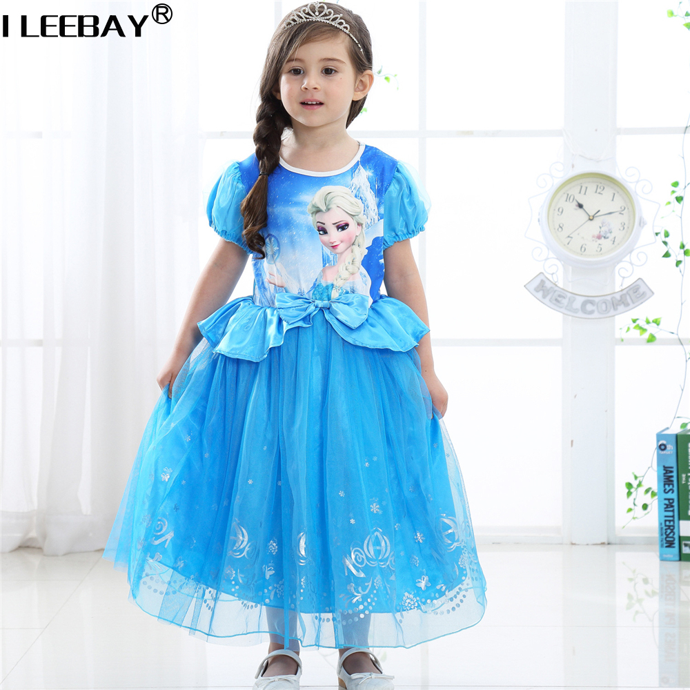 Hot Sale Baby Girl Princess Anna Elsa Dress Children Halloween Gift Costume High Quality Snow Queen Kids Birthday Party Dress 13pcs set snow queen elsa anna princess dress girl toys play house dress up kids toys action figures for new year gift s50