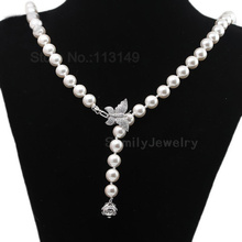 Women Shell Pearl Sweater Chain Necklace With Genuine Sterling Silver Zircon Butterfly Bayonet Clasp Costume Jewelry SPN-D010