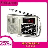 RETEKESS TR603 радио ресивер FM-AM коротковолновый USB Радио Mp3 Цифровая настройка приемник Поддержка tf-карты с перезаряжаемой батареей