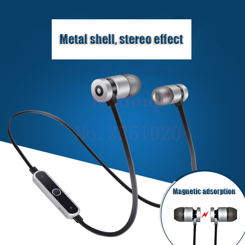 Metal Bluetooth Headphone For iPhone Magnetic Stereo With Mic Earbuds Universal Sports Running Wireless Headset For Xiaomi bluetooth earphone headphone for iphone samsung xiaomi fone de ouvido qkz qg8 bluetooth headset sport wireless hifi music stereo