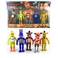 Cinco Noches En de Freddy 5 Unids/lote 5.5 Pulgadas PVC LED luces Foxy Oro Freddy Freddy Chica Figura de Acción de Juguete de regalo de Cumpleaños