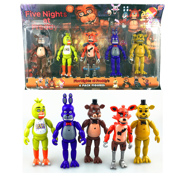 Das cinco Noites No Freddy 5 Pçs/lote 5.5 Polegada PVC LEVOU luzes Foxy Chica Freddy Freddy Toy Action Figure presente de Aniversário de Ouro