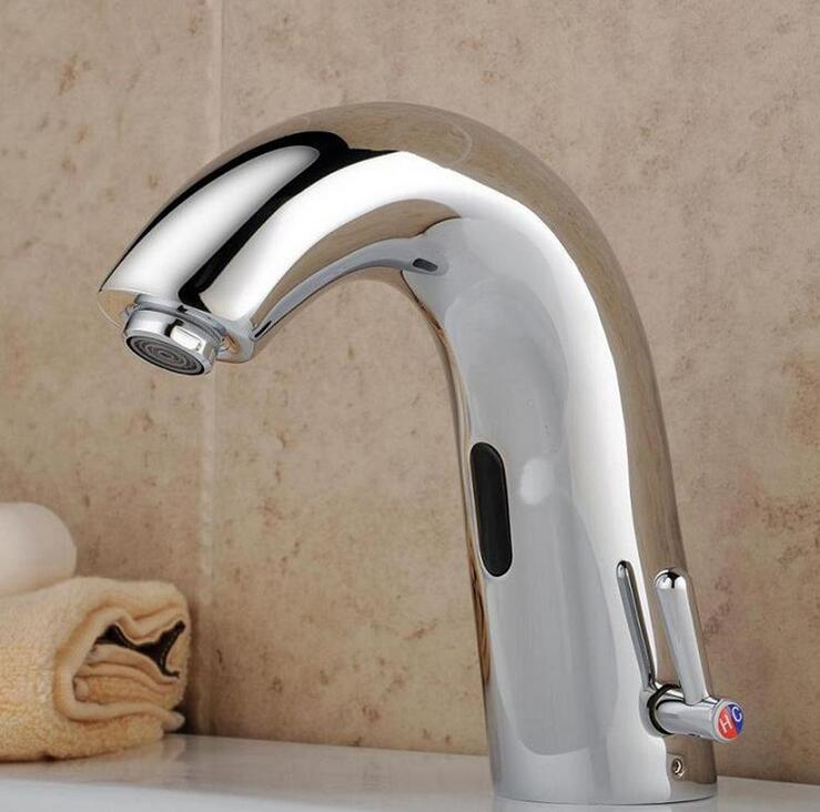 Toilet brass infrared faucet chrome plated,Copper automatic water faucet, Bathroom wash basin faucet mixer tap