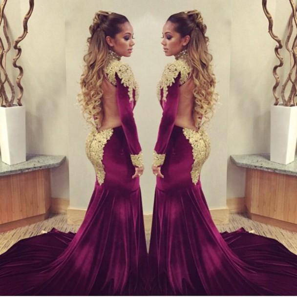 d91de82a3184 2017 burgundy velvet Mermaid Celebrity Red Prom dresses with golden shiny  sequins applique high neck backless Prom Gowns
