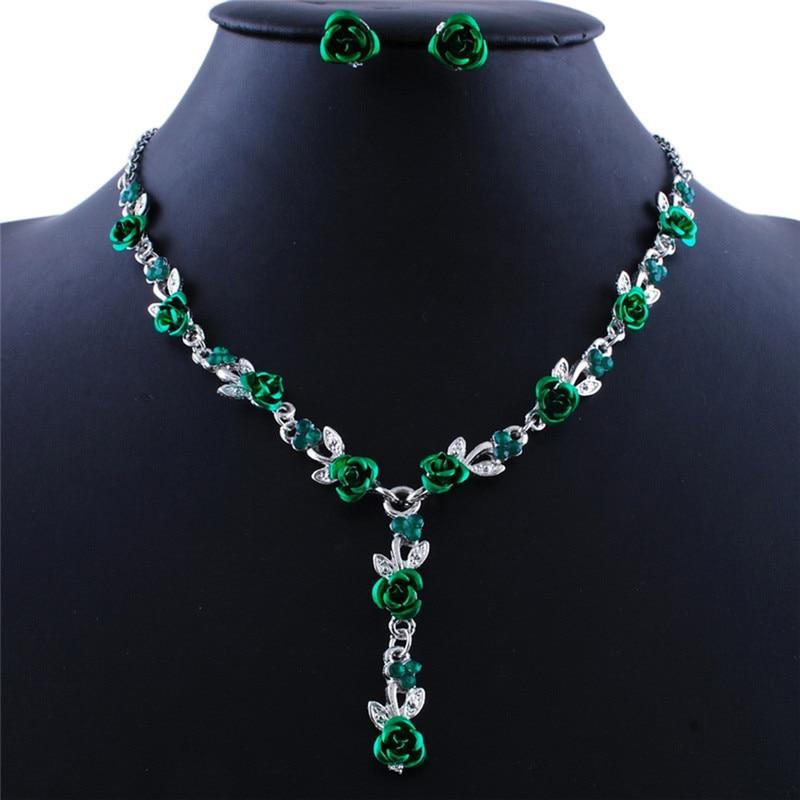 1 Satz Lange Pendientes Halskette Ohrringe Set Vintage Türkischen Schmuck Sets Emaille Blume Anhänger Colar Silber Platte Prinzessin Haken