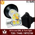 Senhor noite frete grátis cor do Ouro 20 W 7440 T20 WY21W LED DRL carro de Circulação Diurna Luzes & Frente Sinais de Volta tudo em um