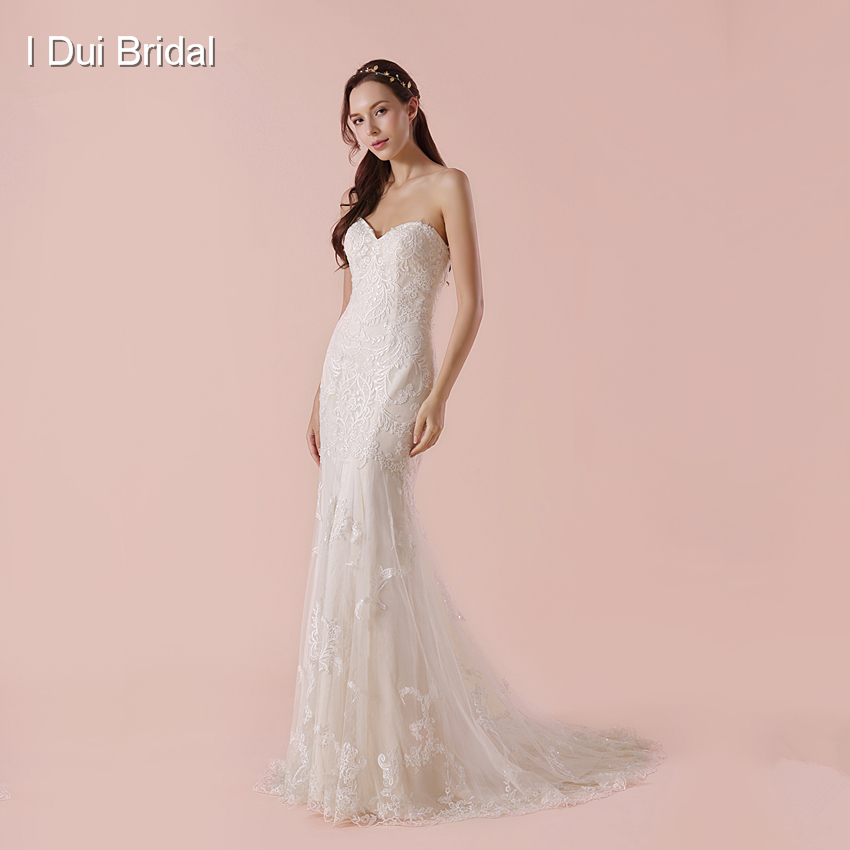 Sweetheart Sheath Lace Wedding Dress Luxury High Quality Bridal Gown