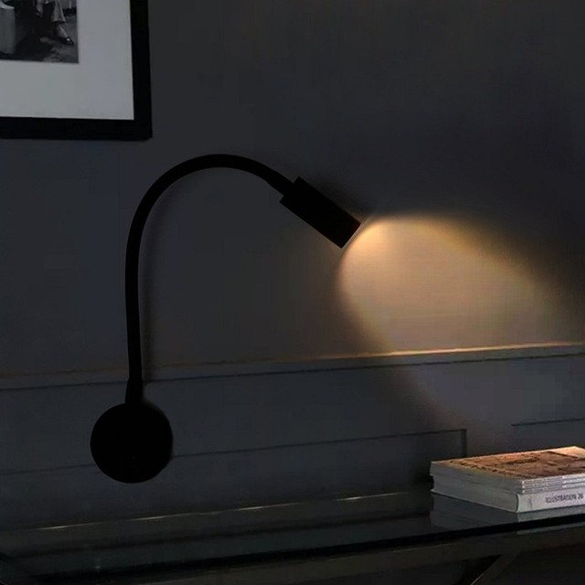 Flexible 3w Led Wall Lamp Mounted Sconce Lighting Gooseneck Night Reading Light With Switch For