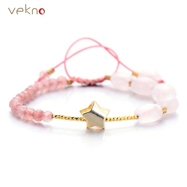 a012b36f5e66 VEKNO Real de cuarzo rosa Pulseras de perlas de Color oro encanto de la  estrella de