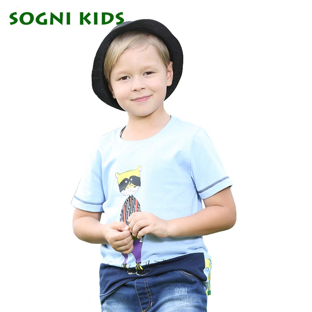 SOGNI KIDS Cartoon Characters Tshirts Toddler Solid Short Sleeves Clothes Baby Fashion 2016 2017 New Round Neck T-shirts
