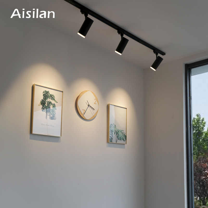 Aisilan LED Track Light 7W COB Rail Spotlights Lamp Leds Tracking Fixture Spot Lights AC90-260V for Art Exhibition,Picture Show