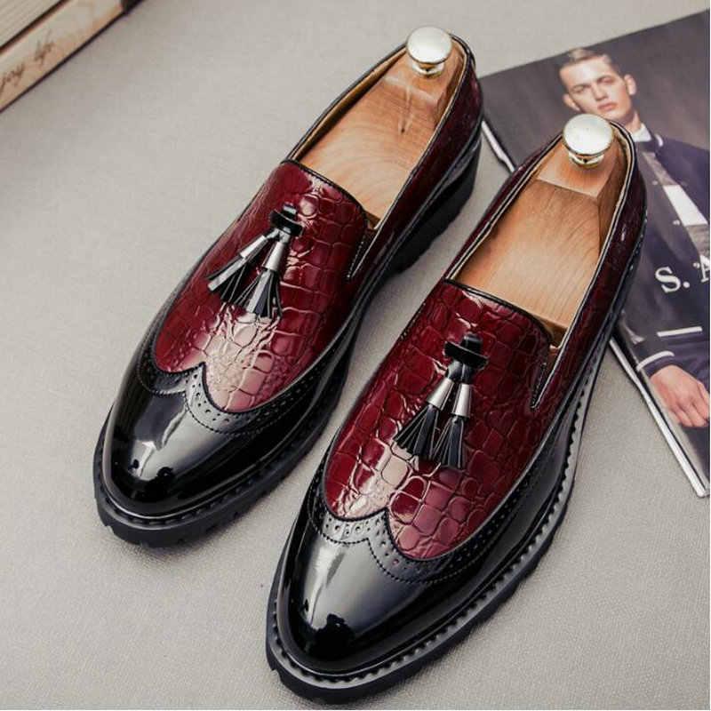Deri Muhtasar Erkekler İş Elbise Siyah Resmi Düğün Temel Ayakkabı erkek mokasen ayakkabıları üzerinde kayma Düğün parti ayakkabıları büyük boy 47 A51-29