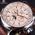 Мужские часы Forsining Moon Phase Shanghai Move, чехол из розового золота с коричневым кожаным ремешком, мужские часы от ведущего бренда, Роскошные автомат...