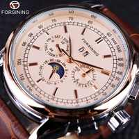Forsining Moon Phase Shanghai Movement Rose Gold Case Brown Leather Strap Men Watch Top Brand Luxury Automatic Self Wind Watch