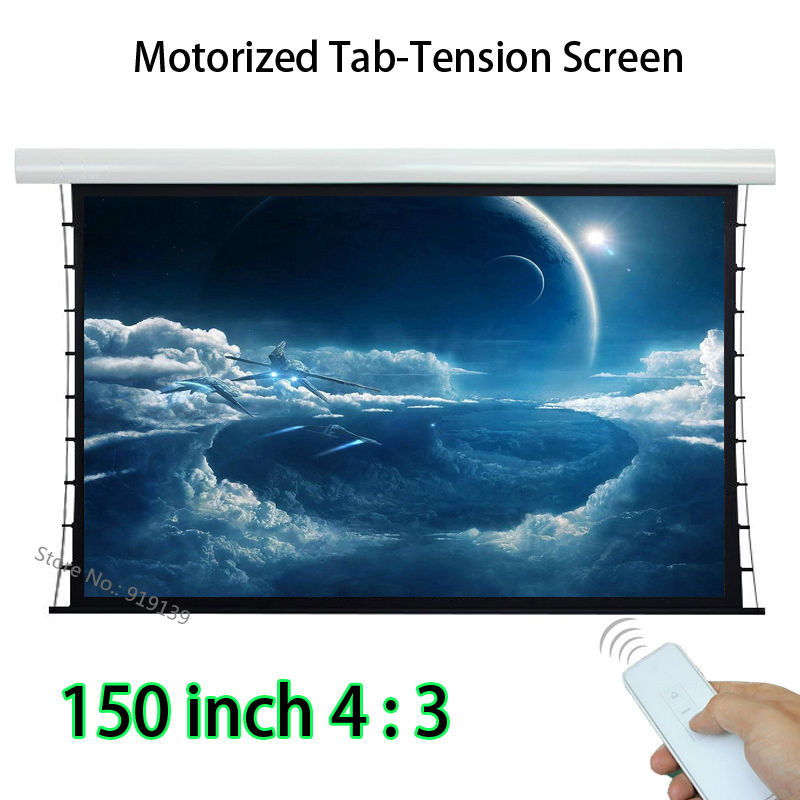 Large Tab Tensioning 4K Projection Screen 150-inch 3048x2286mm Watching Area With Wireless Remote ControlLarge Tab Tensioning 4K Projection Screen 150-inch 3048x2286mm Watching Area With Wireless Remote Control