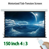 Large Tab Tensioning 4K Projection Screen 150 inch 3048x2286mm Watching Area With Wireless Remote Control